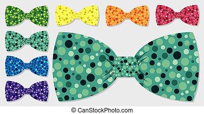 conjunto, format., arco, vector, corbata, burbuja