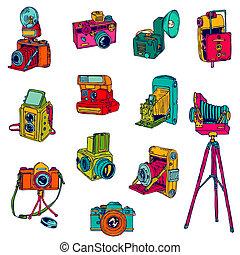 conjunto, foto, camaras, -, hand-drawn, vector, doodles