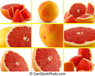 conjunto, fotos, de, grapefruit.