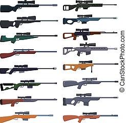 conjunto, francotirador, caricatura, arma, iconos, estilo