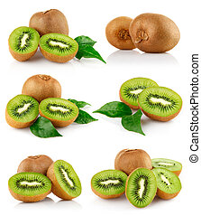 conjunto, fresco, fruta kiwi, con, hojas verdes