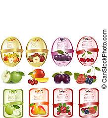 conjunto, fruta, etiquetas