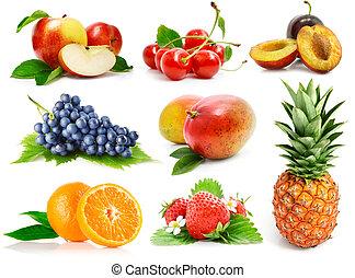 conjunto, frutas frescas, con, hojas verdes, aislado