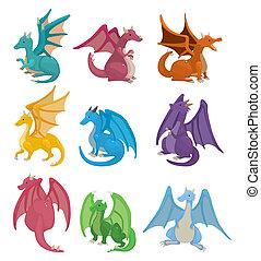conjunto, fuego, dragón, caricatura, icono