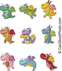 conjunto, fuego, grasa, dragón, caricatura, icono