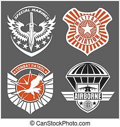 conjunto, fuerza aérea, etiquetas, -, remiendo, fuerzas, militar, logotipo, armado, insignias