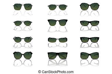 conjunto, gafas de sol