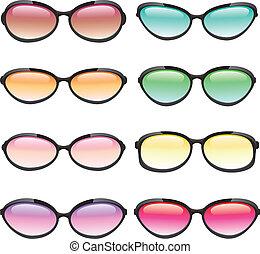 conjunto, gafas de sol, colorido