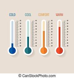 conjunto, galgas de la temperatura, medida, ilustración,...