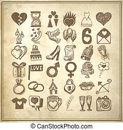 conjunto, garabato, 36, ilustración, mano, sketchy, boda, dibujo, icono