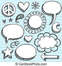 conjunto, garabato, discurso, marcos, burbujas, 3d