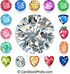 conjunto, gemas, rectangular, composición