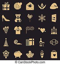 conjunto, generosidad, estilo, iconos simples