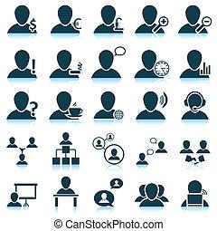 conjunto, gente, icono