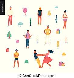 conjunto, gente, retratos, hombres, -, joven, brillante, mujeres