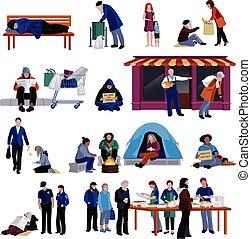 conjunto, gente, sin hogar, iconos