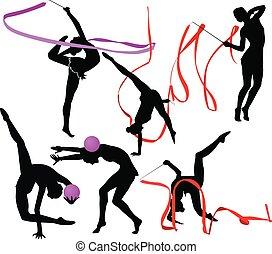 conjunto, gimnasta, atleta, aislado, siluetas, plano de fondo, niña, blanco