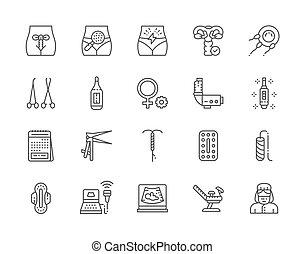 conjunto, ginecología, icons., termómetro, tampón, embarazo,...