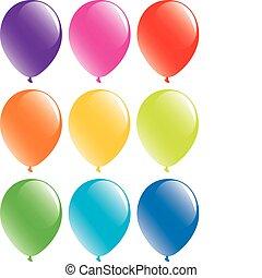 conjunto, globos, colorido