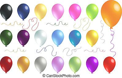 conjunto, globos, transparente