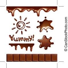 conjunto, gotas, chocolate