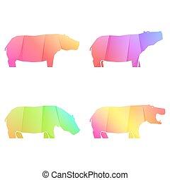 conjunto, gradiente, hipopótamos, multicolor
