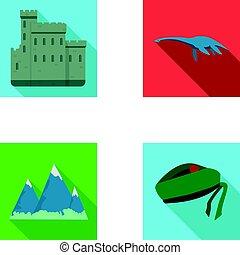 conjunto, grampian, edimburgo, lago, estilo, iconos,...