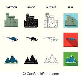 conjunto, grampian, lago, caricatura, estilo, iconos,...