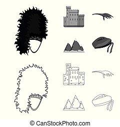 conjunto, grampian, lago, estilo, iconos, escocia, castillo,...