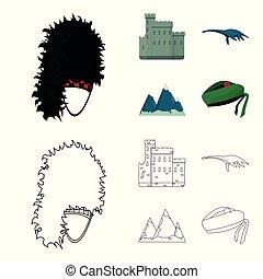 conjunto, grampian, lago, estilo, iconos, escocia, nacional,...