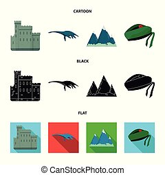 conjunto, grampian, lago, estilo, iconos, monstruo, escocia,...