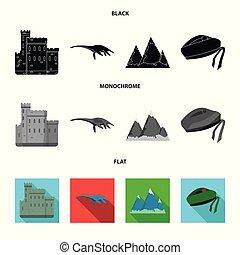 conjunto, grampian, lago, monocromo, estilo, plano, iconos,...