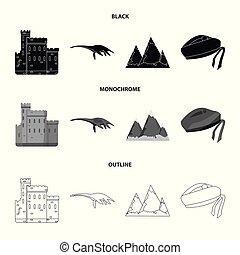 conjunto, grampian, lago, negro, estilo, iconos, escocia,...