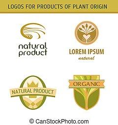 conjunto, granjeros, grown., natural, products., logotipo, ...