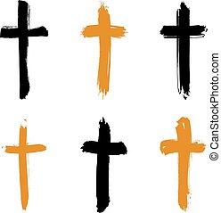 conjunto, grunge, collectio, iconos, cruz, amarillo, hand-drawn, negro