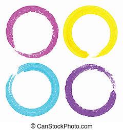 conjunto, grunge, colorido, manchas, acuarela, círculo