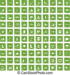 conjunto, grunge, iconos, agua, verde, 100