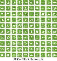 conjunto, grunge, iconos, agua, verde, 100, deporte