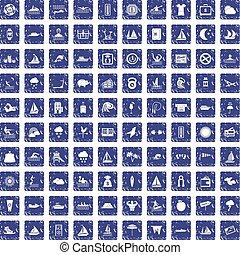 conjunto, grunge, iconos, agua, zafiro, 100, deporte
