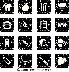 conjunto, grunge, iconos, dental, stomatology, vector