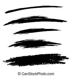conjunto, grunge, líneas, mano, cepillo, dibujado