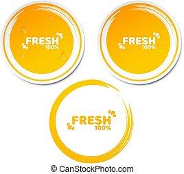conjunto, grunge, product., fluir, porcentaje, ilustración, ecológico, vector, juice., label., water., naranja, fresco, 100, gotas, pegatinas, style., 3d