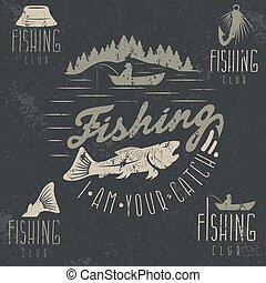 conjunto, grunge, vendimia, etiquetas, tema, pesca