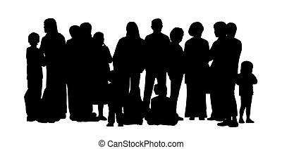 conjunto, grupo, gente, grande, siluetas, 2
