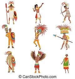 conjunto, guerreros, arma, hombres, azteca, tradicional, vector, plano de fondo, casco, ilustraciones, blanco, ropa