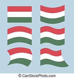 conjunto, húngaro, revelado, hungría, flag., bandera del ...