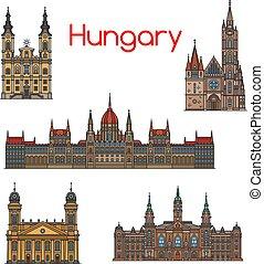 conjunto, húngaro, viaje, delgado, señal, línea, icono