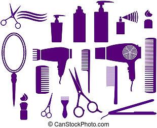 conjunto, hairstyling, objetos