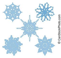 conjunto, halftone, snowflakes., vector