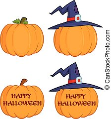 conjunto, halloween, colección, calabazas
